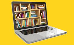 Laptop met boekenkast als scherm op gele achtergrond