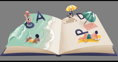 Mooi getekende strandvakantie in een opengeslagen boek